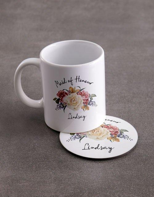 Maid Of Honour Personalised Mug And Coaster Set