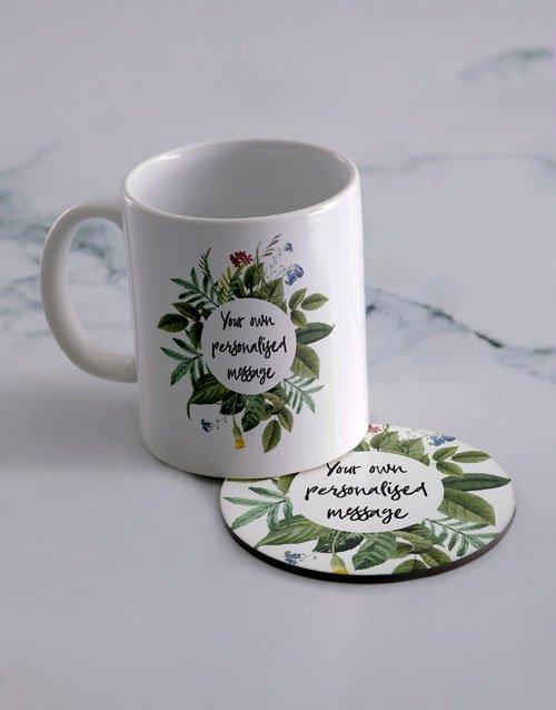 Own Message Personalised Mug And Coaster Set