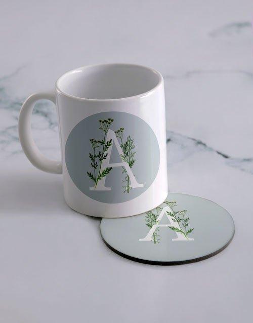 Floral Monogram Personalised Mug And Coaster Set
