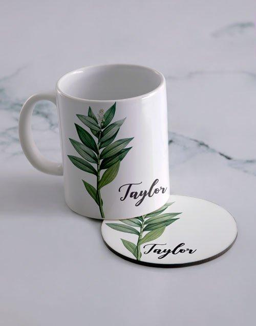 Floral Personalised Mug And Coaster Set