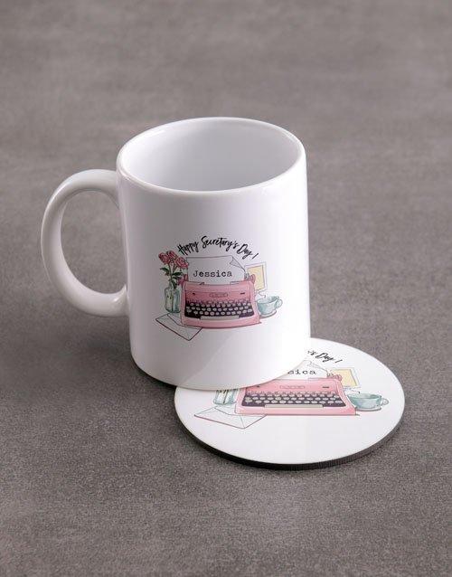 Secretaries Day Personalised Mug And Coaster Set