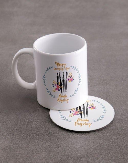 Secretaries Personalised Mug And Coaster Set