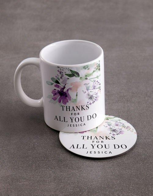 Thank You Personalised Mug And Coaster Set