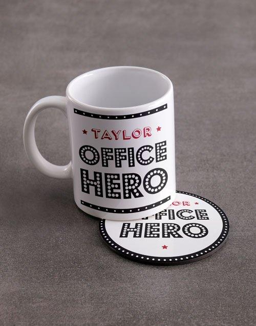 Office Hero Personalised Mug And Coaster Set