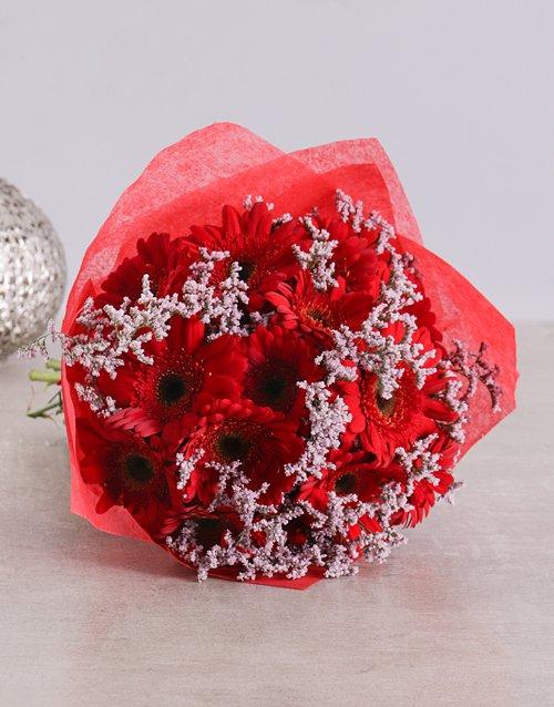 Brilliant Red Gerbera Bouquet