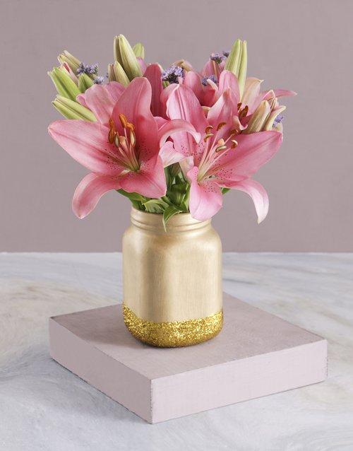 Asiflorum Lilies in Gold Consol Jar