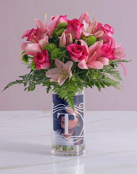 Personalised Pink Flowers in Initial Photo Vase