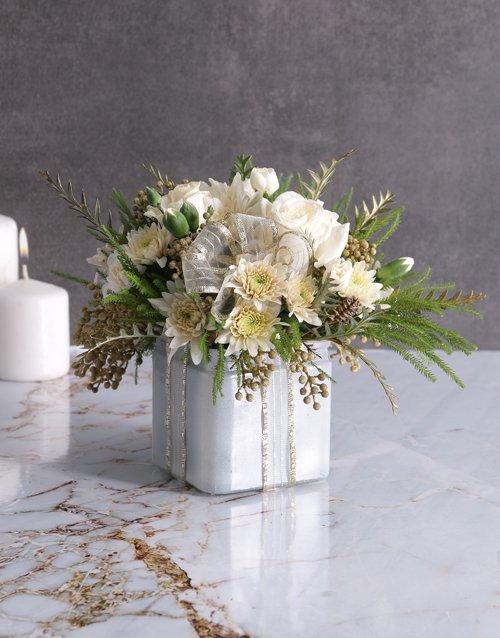 Radiant White Florals in Square Vase