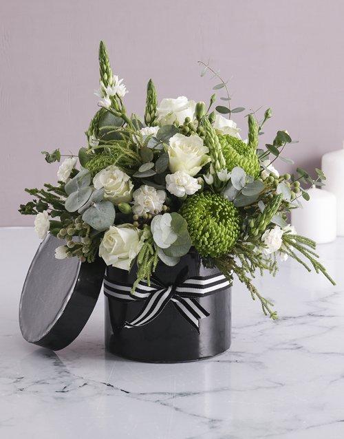 White Mixed Flower Hat Box