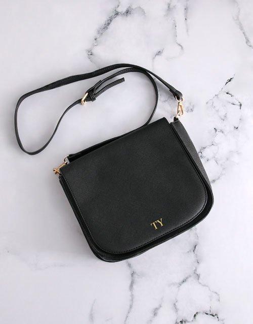 Personalised Black Cross Body Bag