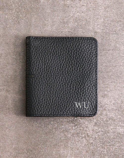 Personalised Black Folded Wallet