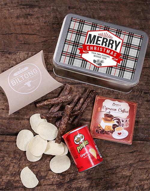 Personalised Christmas Tartan Snack Tin