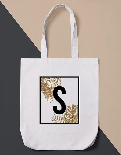 Personalised Initial Leaf Tote Bag
