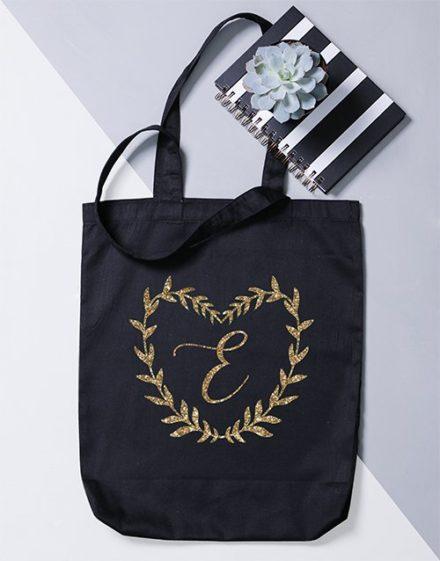 Personalised Initial Heart Wreath Tote Bag