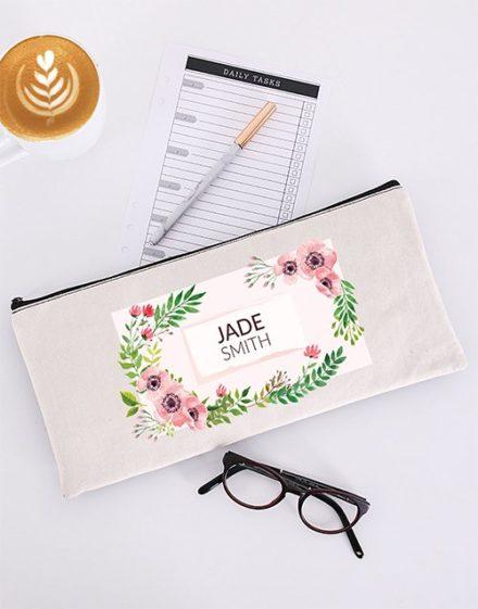 Personalised Floral Pencil Bag
