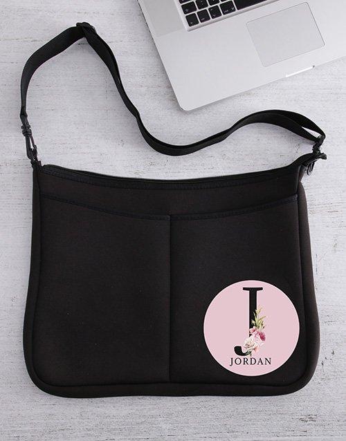 Personalised Rose Initial Laptop Bag