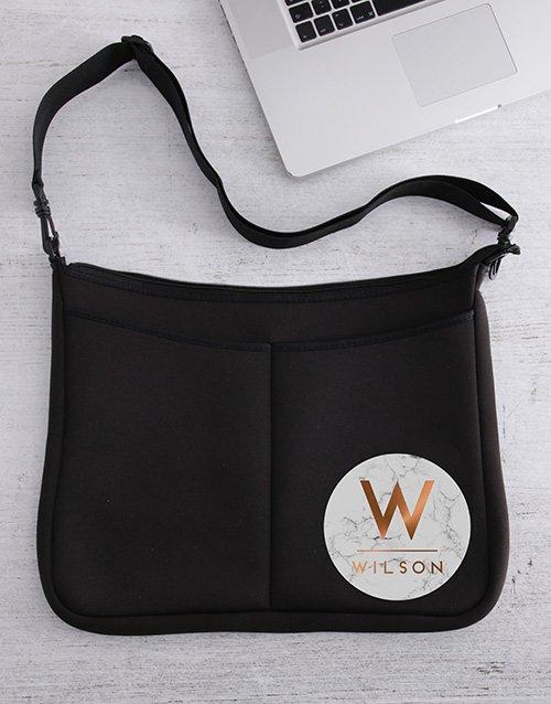 Personalised Marble Laptop Bag