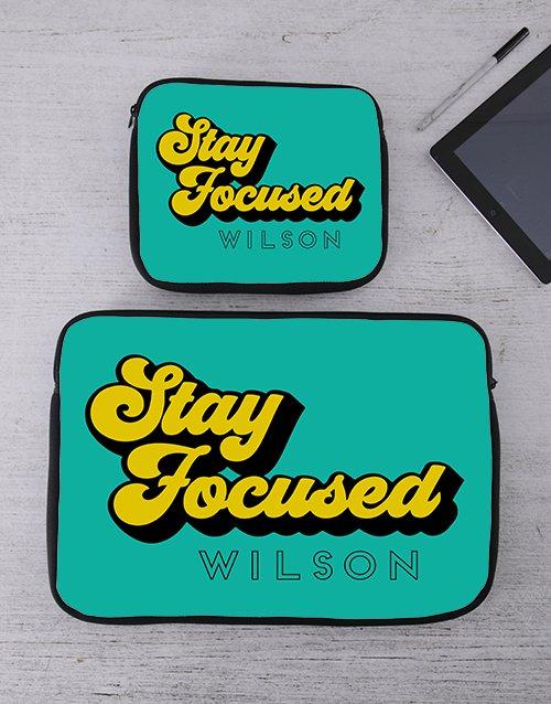 Personalised Stay Focused Tablet or Laptop Sleeve