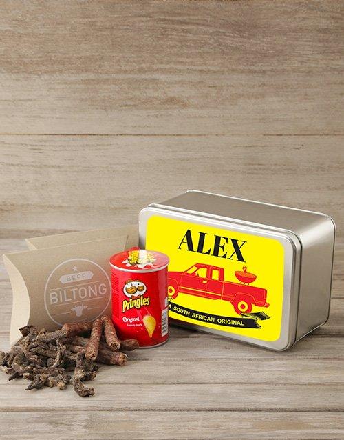 Personalised Biltong & Pringles Tin