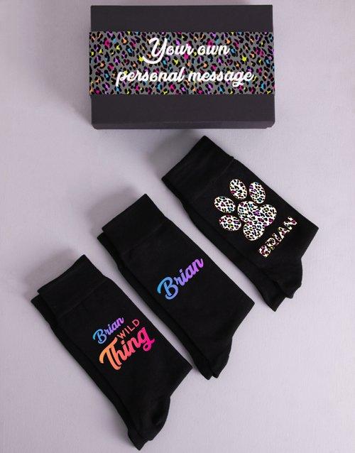 Personalised Three Pair Wild Thing Sock Box