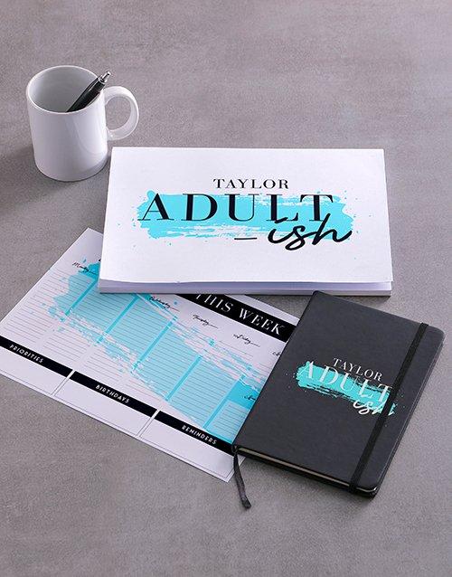 Personalised Adultish Desk Stationery Set