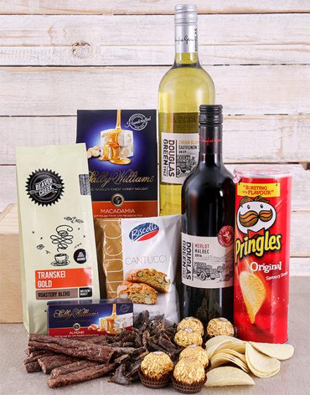 Christmas Gift Box of Wine Biltong and Chocolates