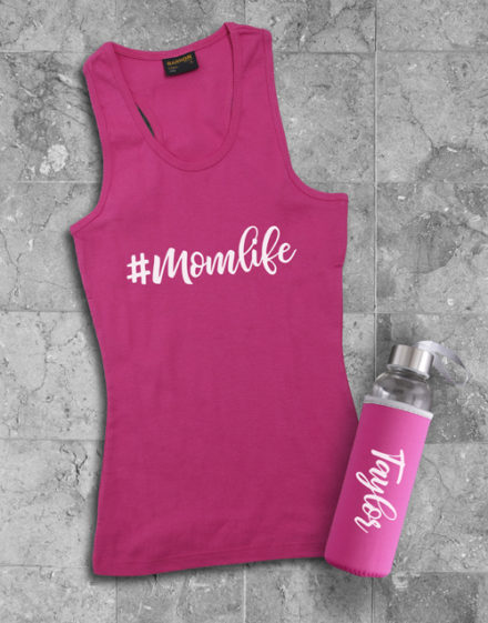 activewear Personalised Mom Life Racerback and Water Bottle