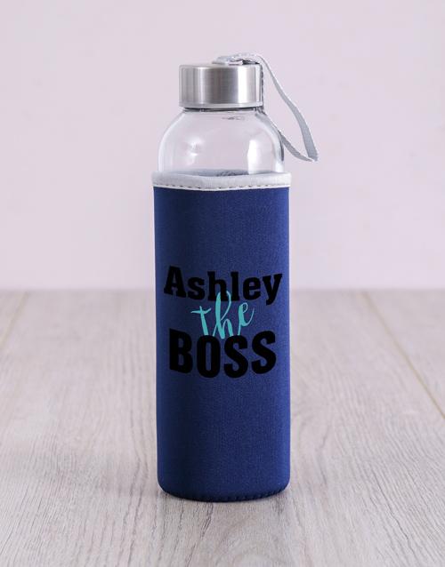 activewear Personalised Black The Boss Water Bottle