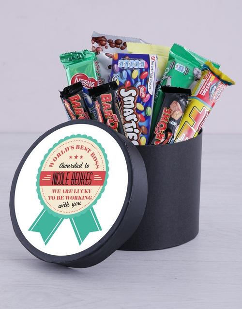 personalised Personalised Best Boss Award Choc Hat Box