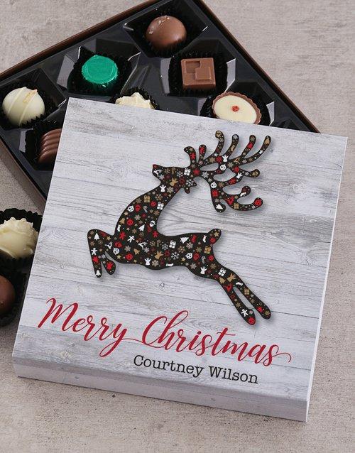personalised Personalised Christmas Reindeer Choc Tray