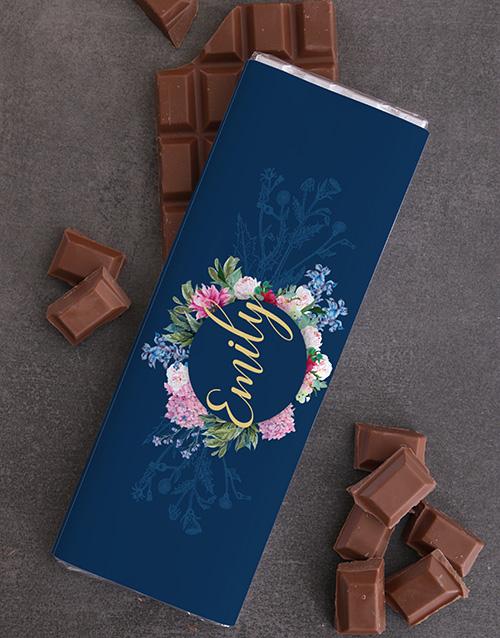 personalised Personalised Floral Chocolate Slab
