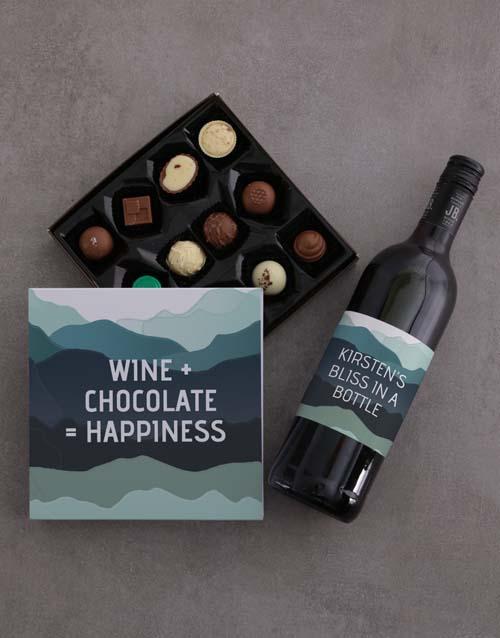 personalised Personalised Wine And Chocolate Joy Gift Set