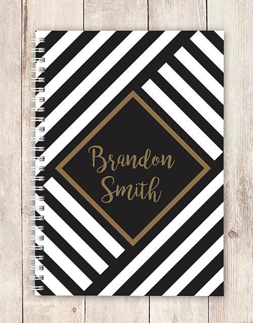 personalised Personalised Geometric Stripe Notebook
