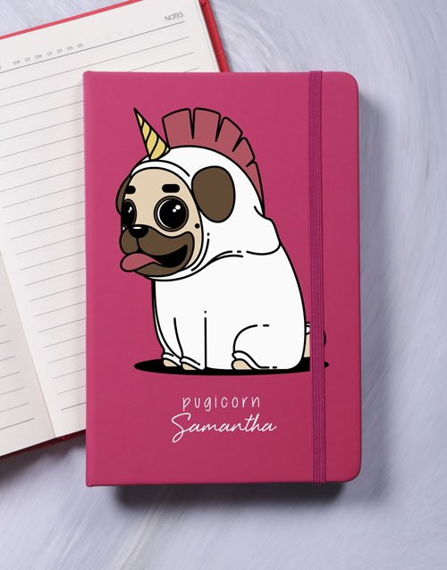personalised Personalised Pugicorn A5 Notebook