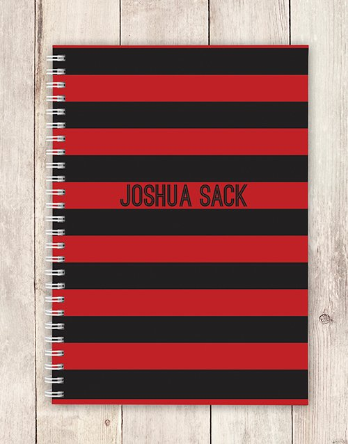 personalised Personalised Red and Black Striped Notebook