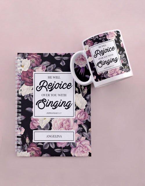 personalised Personalised Rejoice Mug And Notebook