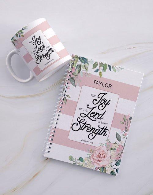personalised Personalised Joyous Strength Mug And Notebook
