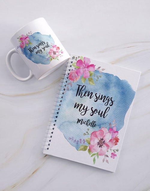 personalised Personalised Sings My Soul Mug And Notebook