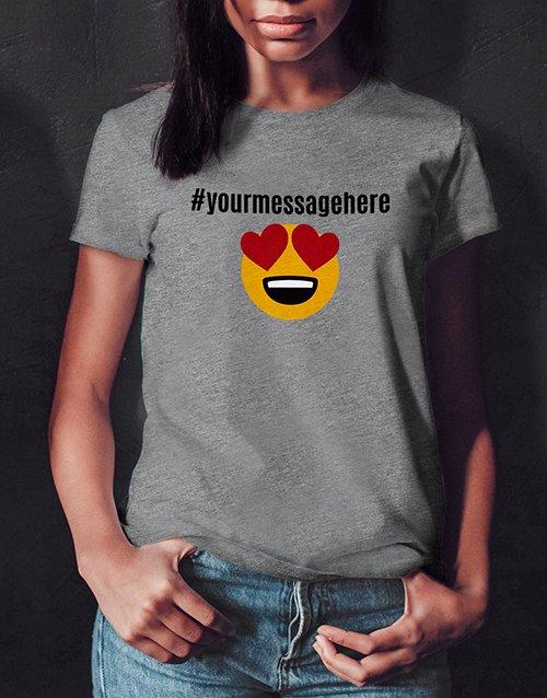 clothing Personalised Heart Eyes Emoji Ladies White Tshirt