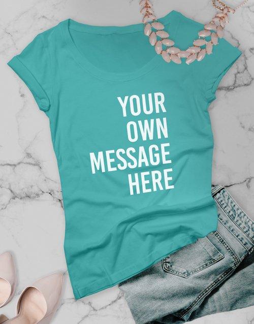 clothing Personalised Aqua Blue Ladies T Shirt