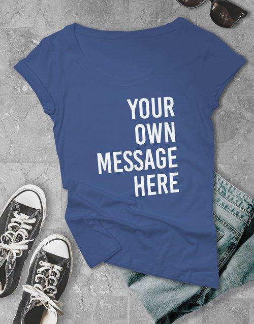clothing Personalised Royal Blue Ladies T Shirt