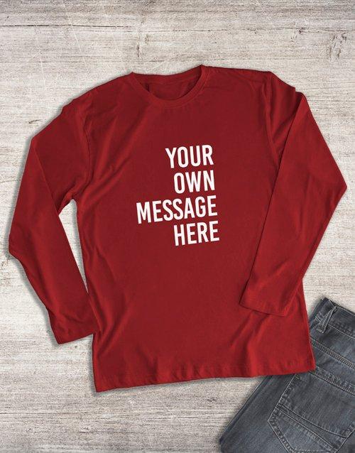clothing Personalised Red Ladies Long Sleeve Shirt