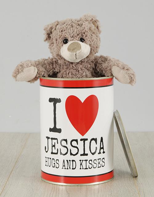 personalised Personalised Love Cuddles Teddy Tin