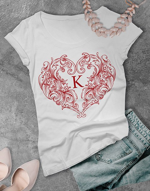clothing Personalised Valentines Heart Ladies T Shirt