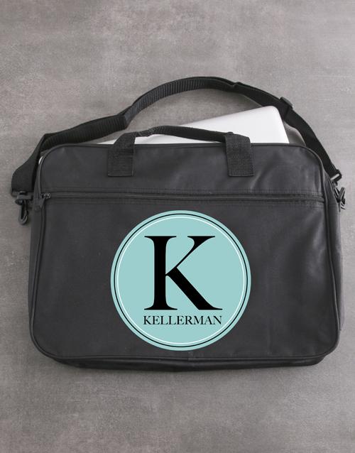 apparel Personalised Initial Laptop Bag