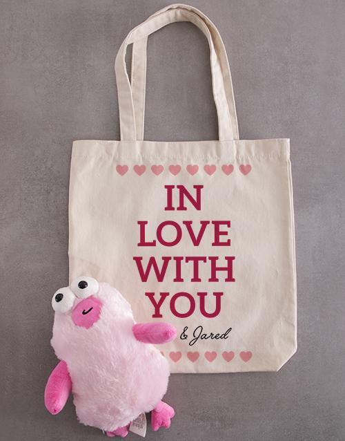 personalised Personalised In Love Teddy Tote Bag