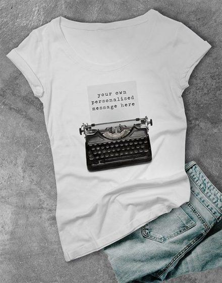 clothing Personalised Typewriter Ladies T Shirt