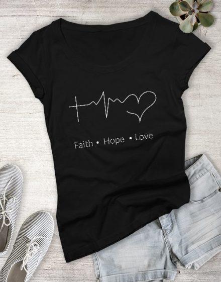 clothing Ladies Faith Hope Love Christian Shirt