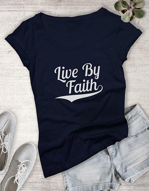 clothing Ladies Live By Faith Christian Shirt