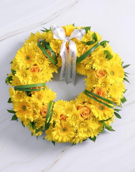 flowers Yellow Sympathy Wreath